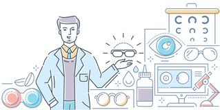 Optics - modern line design style colorful illustration. On white background. A composition with a male worker presenting glasses, contact lenses with stock illustration
