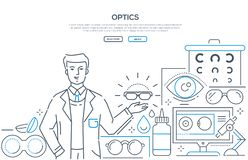 Optics - modern line design style web banner. On white background with copy space for text. A composition with a male worker presenting glasses, contact lenses stock illustration