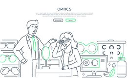 Optics - modern line design style web banner. On white background with copy space for text. A male worker helping a female customer to choose glasses, images of stock illustration