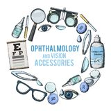 Optics and visual acuity. Set of medical optometry accessory for correct vision - contact lens,  solution, lens case eye test chart, glasses. Vector Stock Images