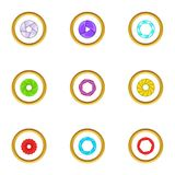Optics zoom icons set, cartoon style Stock Images