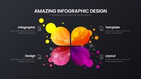 4 optie marketing malplaatje van de analytics het vectorillustratie De lay-out van het bedrijfsgegevensontwerp  stock illustratie