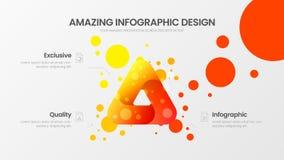 3 optiedriehoek marketing malplaatje van de analytics het vectorillustratie Bedrijfsgegevensontwerp Delta organische infographic  royalty-vrije illustratie