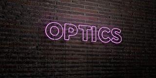 OPTIK - realistische Leuchtreklame auf Backsteinmauerhintergrund - 3D übertrug freies Archivbild der Abgabe vektor abbildung