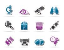 Optik- und Objektivausrüstungsikonen lizenzfreie abbildung
