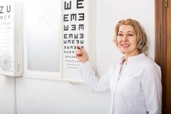 Optiker, der Symbole von Snellen-Diagramm zeigt Stockfotografie