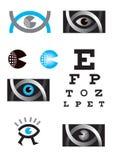 Optiker optometry, öga, symbolsuppsättning royaltyfri illustrationer