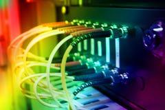 Optikfaserseilzüge angeschlossen an einen Schalter Stockfotografie