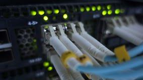 Optiksteckerschnittstelle der Faser Informationstechnologie-Computernetzwerk, Telekommunikations-Faser-Lichtleiterkabel angeschlo stock footage