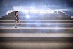 Optimal assurance against steps against blue sky Stock Photo
