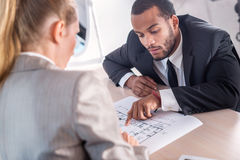 Optimal problem solving project. Successful African businessman Stock Photo