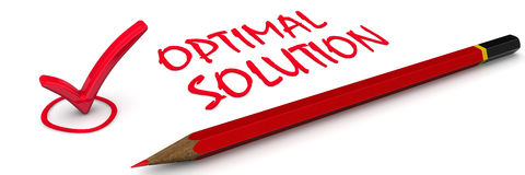 Optimal solution. The red mark Royalty Free Stock Photography