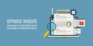 Optimaliseer website - websiteseo - ontvankelijk ontwerp - hoge snelheidslading - technisch seoconcept Vlakke ontwerpbanner Stock Fotografie