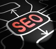 Optimisation de SEO Arrows Means Search Engine sur le Web Photo stock