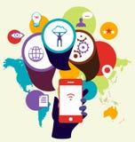 Optimisation de seo de dispositif de téléphone portable Illustrat de concept d'affaires Images libres de droits