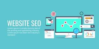 Optimisation de Seo, processus de programmation, concept d'analytics de Web Bannière plate de vecteur de conception image libre de droits