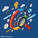 Optimisation de SEO, recherche de l'information, concept de vecteur d'analyse de données illustration libre de droits