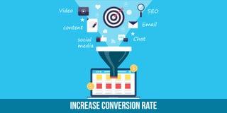 Optimisation de taux de conversion - bannière plate de Web de conception Photographie stock