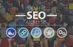 Optimisation SEO Information Internet Concept de moteur de recherche Photographie stock libre de droits