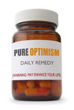 Optimism. Container of 'optimism' pills over a white background Royalty Free Stock Photo