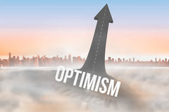 Optimism against road turning into arrow Royalty Free Stock Images