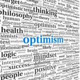 Optimism concept in word tag cloud isolated Stock Image