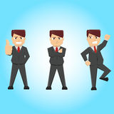 The optimism guy. 3 poses of businessman who have a optimistic Royalty Free Stock Photo