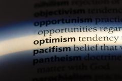 Optimism. Word in a dictionary.  concept stock image