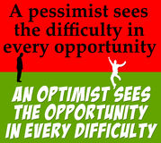 Optimism pessimism Stock Photo