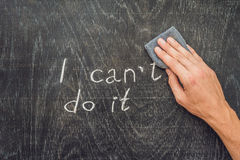 Optimism and positivity concept, changing I can`t do it in I can do it.  Stock Photo
