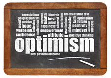 Optimism word cloud on blackboard Royalty Free Stock Photography