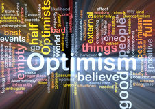 Optimism word cloud glowing Royalty Free Stock Photography