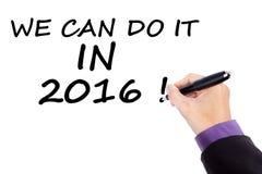 Optimismuskonzept können wir es im Jahre 2016 tun Stockfotografie