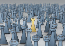 Optimist in grey crowd. Man in a good mood in grey crowd Royalty Free Stock Image