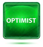 Optimist Neon Light Green Square Button vector illustration