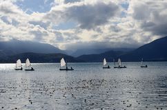 Optimist os sailing dinghy on Annecy lake Royalty Free Stock Photo