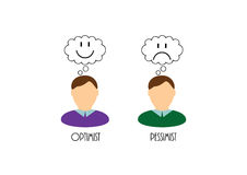Optimist and pessimist. Image of two opposite mood of the people Vector Illustration