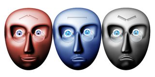 Optimist, realist, pessimist. Illustration with scene of the mask with expression of the joys, tranquillities and dejection Stock Photo