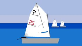 Optimist sailboat Stock Photo