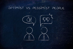 Optimist vs pessimist people, thumbs up or thumbs down Royalty Free Stock Images
