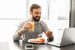Optimistic adult man 30s wearing casual clothing eating fried eg. Gs for breakfast and drinking juice at home while using notebook Stock Photography