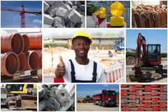 Optimistic african american construction worker with construction site photos royalty free stock photos