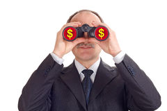 Optimistic businessman. Looking through binoculars-isolated on white stock photo