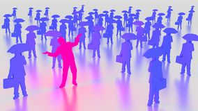 Optimistic businessman glowing stand out from the crowd. Pink glowing businessman optimistic between a group of people with briefcases and umbrellas 3D Royalty Free Stock Photo