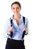 Optimistic businesswoman in blue shirt, isolated Royalty Free Stock Photo