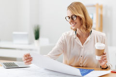 Optimistic engineering specialist working in the office Royalty Free Stock Photo