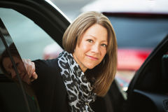 Optimistic Female In Car Stock Photography