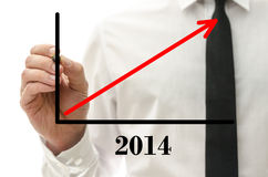 Optimistic financial forecast for year 2014 Stock Photos