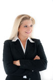 Optimistic office woman in a suit Royalty Free Stock Image