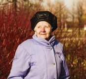 Optimistic old woman. Photo took in Moscow, Russian Stock Photo